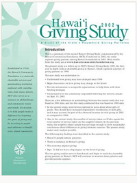 Hawaii 2002 Giving Study: A study of the state's household giving patterns