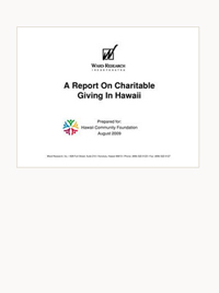 A Report on Charitable Giving in Hawaii