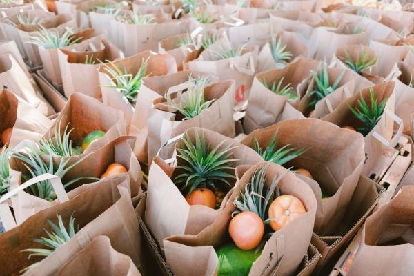Bags of fresh fruits
